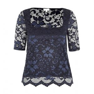 Ex River Island Blue Scalloped Laced Floral Printed Top | FD&K